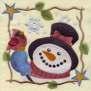 Country-style snowman with cardinal square machine embroidery design.
