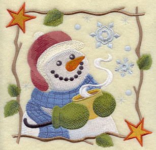 Country-style snowman and hot cocoa square machine embroidery design.