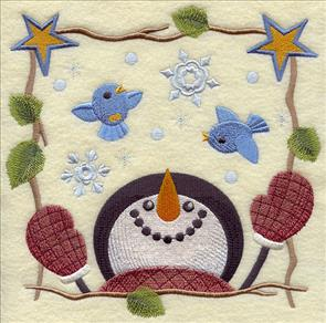 Country-style snowman with bluebirds square machine embroidery design.