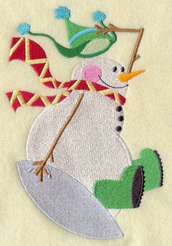 A snowman on a sled machine embroidery design.