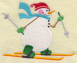 A skiing snowman machine embroidery design.