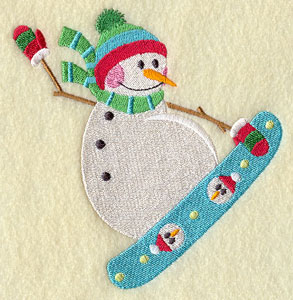 A snowman on a snow board machine embroidery design.