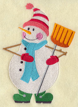 A snowman and a snow shovel machine embroidery design.