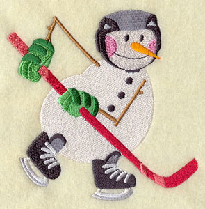 An ice hockey playing snowman machine embroidery design.
