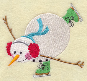 An ice skating snowman machine embroidery design.