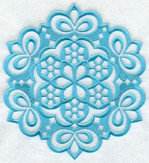 A Wycinanki snow flake machine embroidery design.