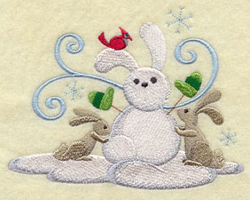 Bunnies building a rabbit snowman machine embroidery design.