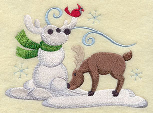 A moose builds a snow moose buddy machine embroidery design.