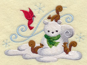 Build-a-pal snowman with squirrels machine embroidery design.