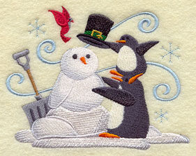 A penguin building a snow penguin machine embroidery design.