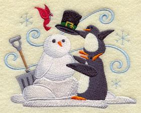 A penguin building a snow penguin machine embroidery design.