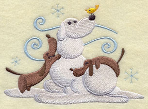 Weiner dogs build a snow pal machine embroidery design.