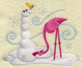 A flamingo builds a snow friend machine embroidery design.