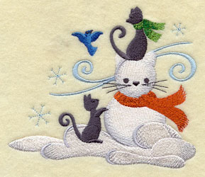 Cats build a snow kitty machine embroidery design.