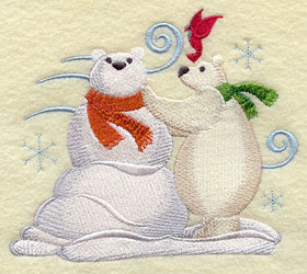 A polar bear and polar bear snowman machine embroidery design.