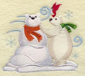 A polar bear and polar bear snowman machine embroidery design.