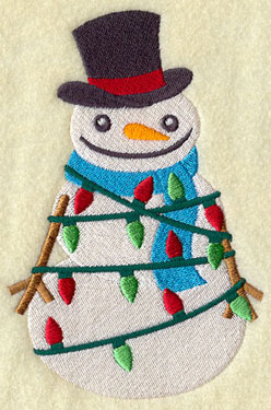 A snowman in a top hat tangled up in Christmas lights machine embroidery design.