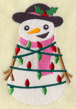 A snow woman tangled up in Christmas lights machine embroidery design.