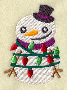 A snowman tangled up in Christmas lights machine embroidery design.