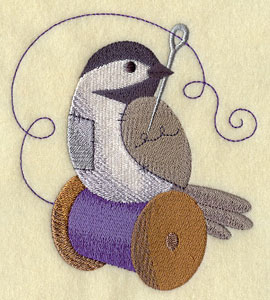 A crafty sewing chickadee with needle and thread machine embroidery design.