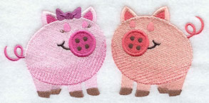 A pair of pigs with button noses machine embroidery design.