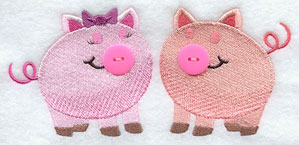 A pair of pigs with add a button noses machine embroidery design.