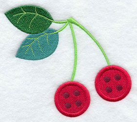Button cherries machine embroidery design.