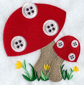 Button mushrooms machine embroidery design.