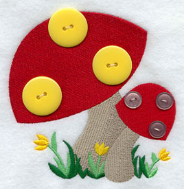 Add a button mushrooms machine embroidery design.