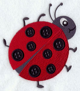 Button ladybug machine embroidery design.