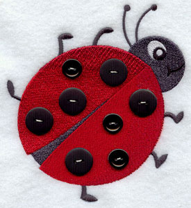 Add a button ladybug machine embroidery design.