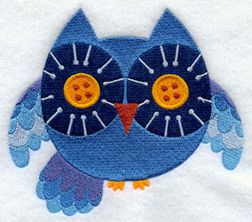 Owl with button eyes machine embroidery design.