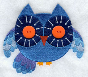 Owl with add a button eyes machine embroidery design.
