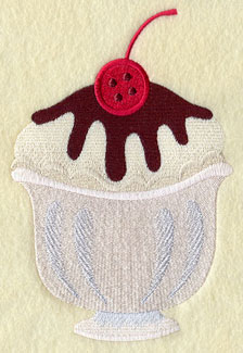 An ice cream sundae with a button cherry machine embroidery design.
