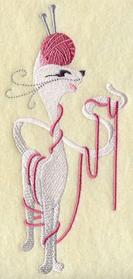 Knitting kitty cat machine embroidery design.