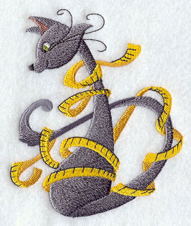 Crafty cat wrapped in measuring tape machine embroidery design.