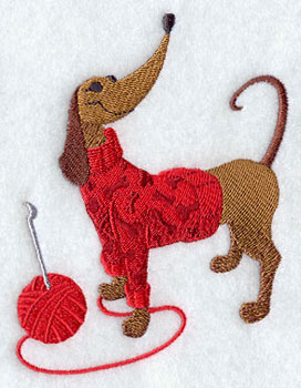 Crocheting dog machine embroidery design.