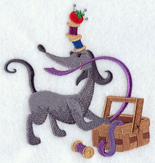 Dog with sewing supplies and thread machine embroidery design.