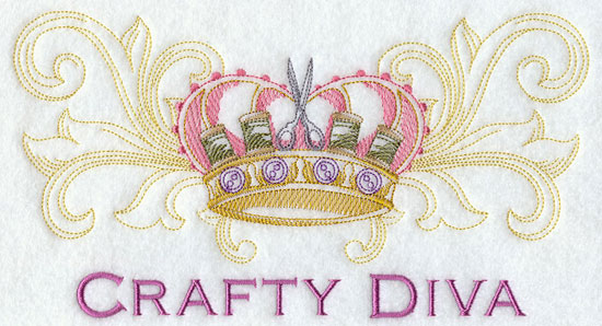 Crafty diva sewing crown machine embroidery design.