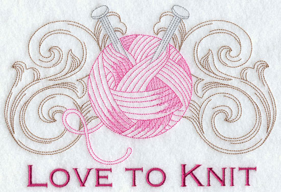 Love to knit machine embroidery design.