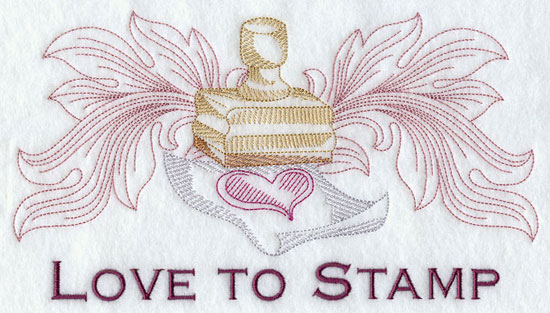 Love to stamp machine embroidery design.