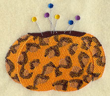Leopard print pin cushion machine embroidery design.