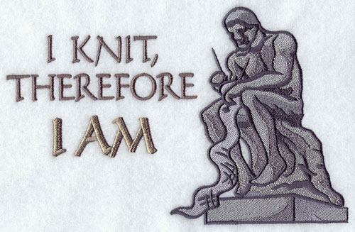 I knit therefore I am machine embroidery design.