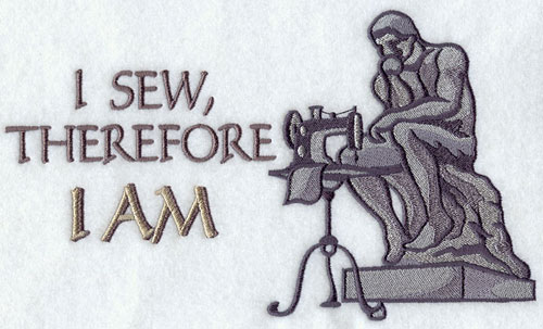 The Thinker and sayings about crafting machine embroidery design.