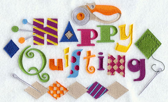 Happy quilting supplies machine embroidery design.