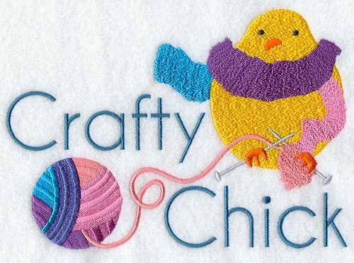 Crafty chick with yarn machine embroidery design.