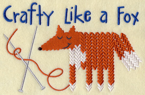 Crafty like a fox knitting pattern machine embroidery design.