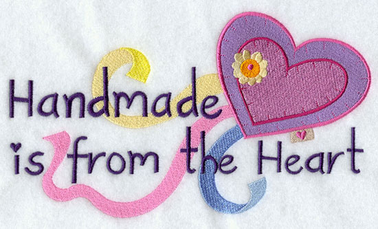 Handmade is from the heart machine embroidery design.