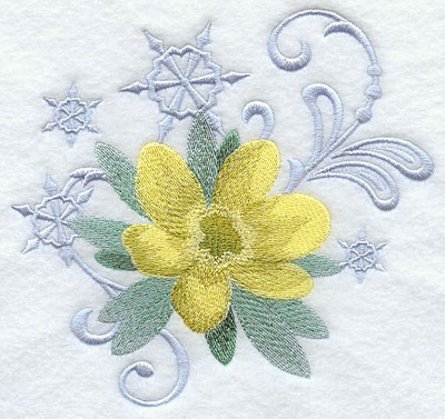 Winter aconite and snowflake echoes machine embroidery design.