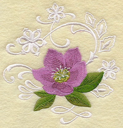 Lenten rose flower and snowflakes echo machine embroidery design.